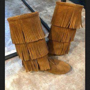Minnetonka Suede Fringe Boots Womens